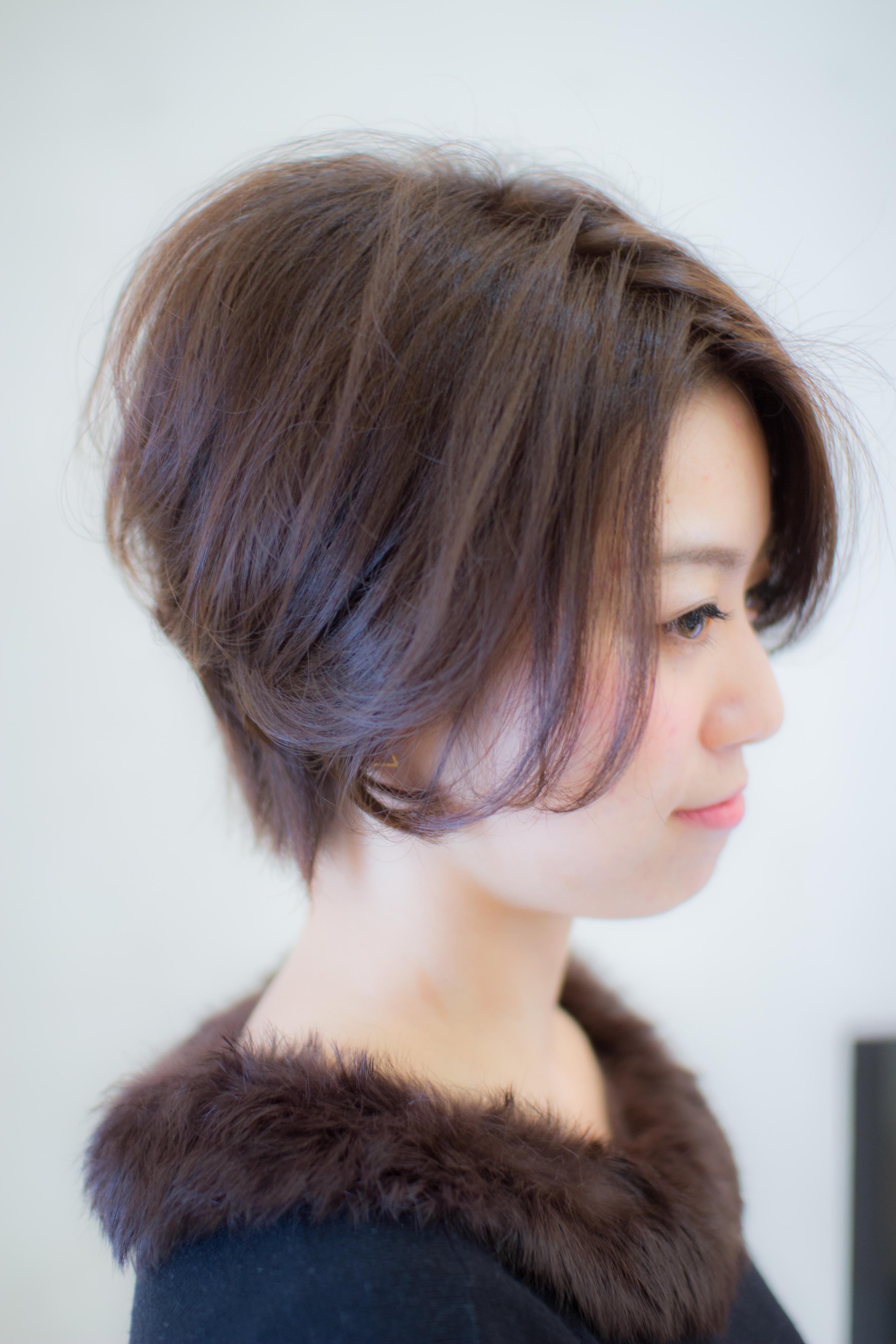 [2020人気ショート]前髪長め美シルエット前下がりショート