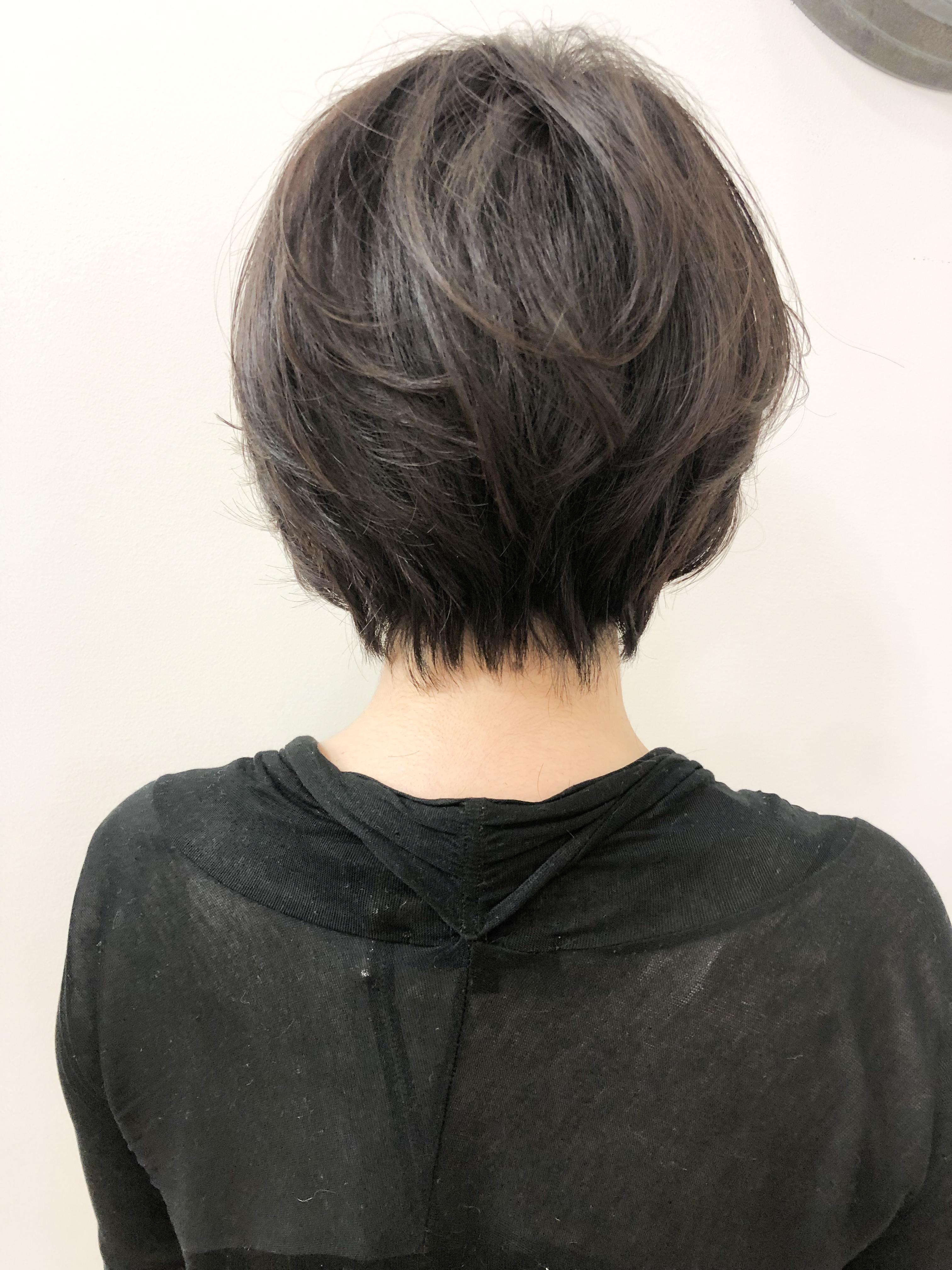直毛+毛量多いボブ→襟足スッキリ+前髪長め大人ショートボブ