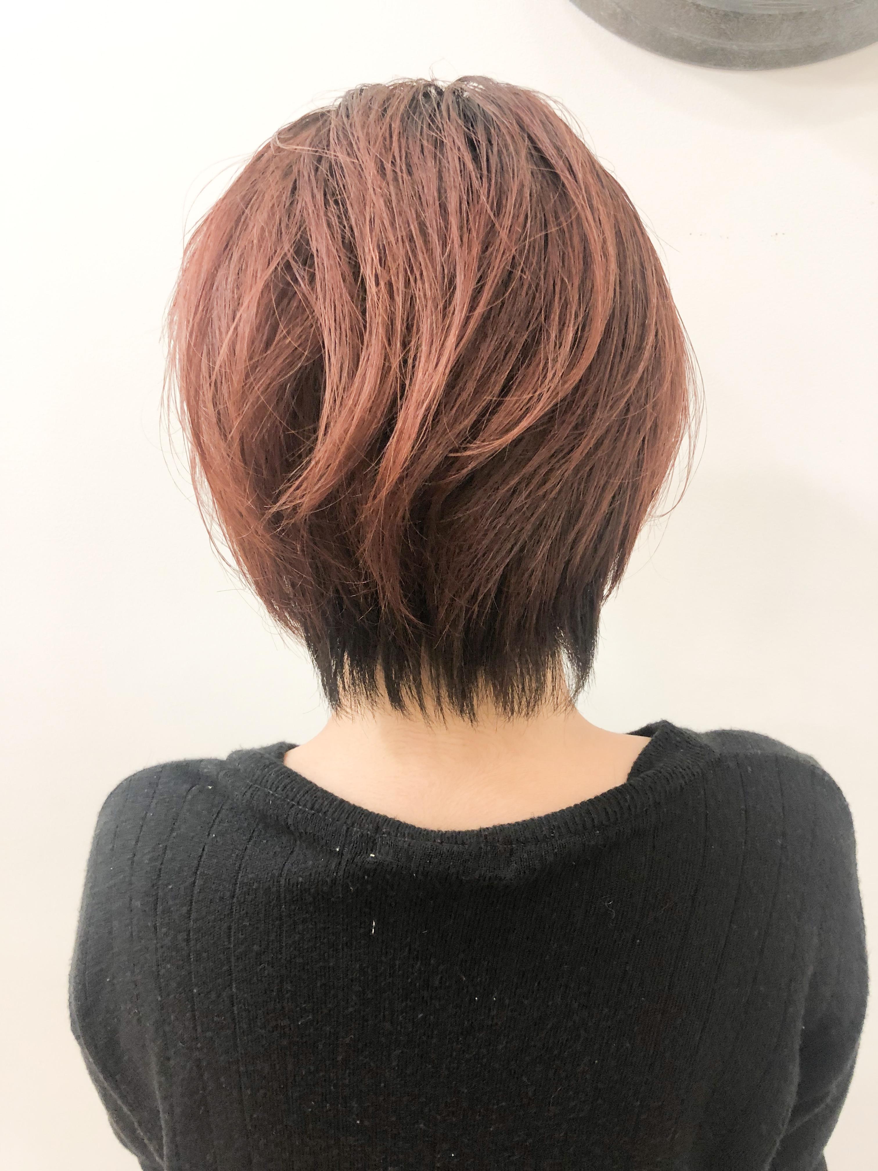 直毛+毛量多いボブ→ピンクバレイヤージュ×ハンサムショート