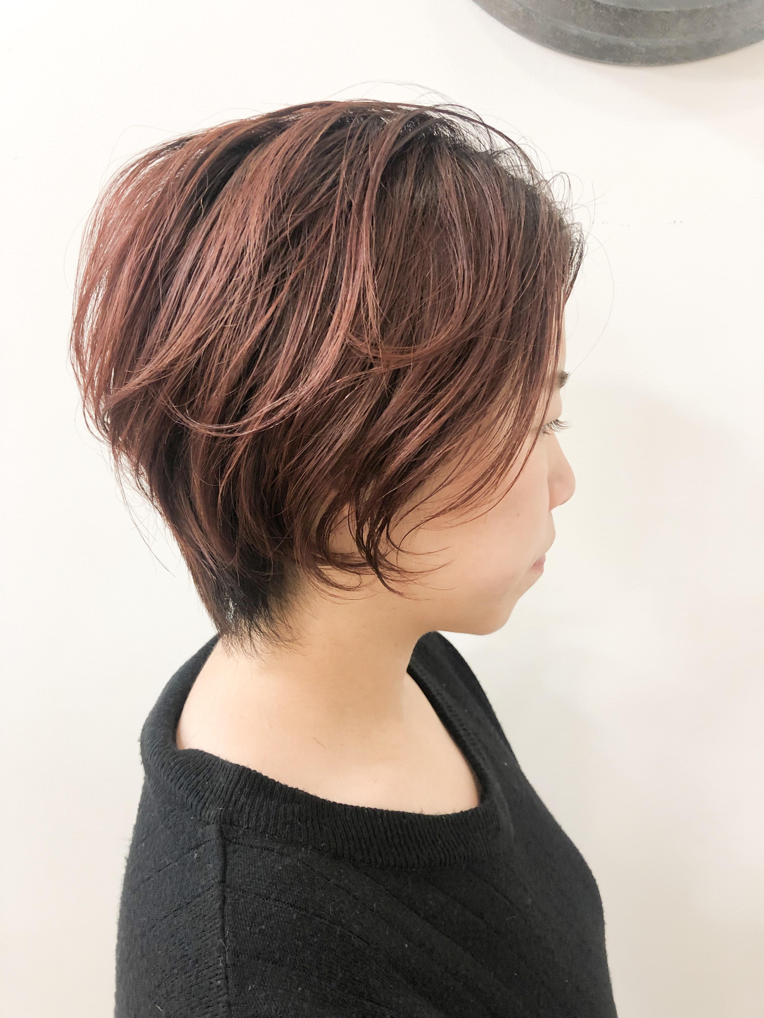 直毛+毛量多いボブ→ピンクバレイヤージュ+ハンサムショート