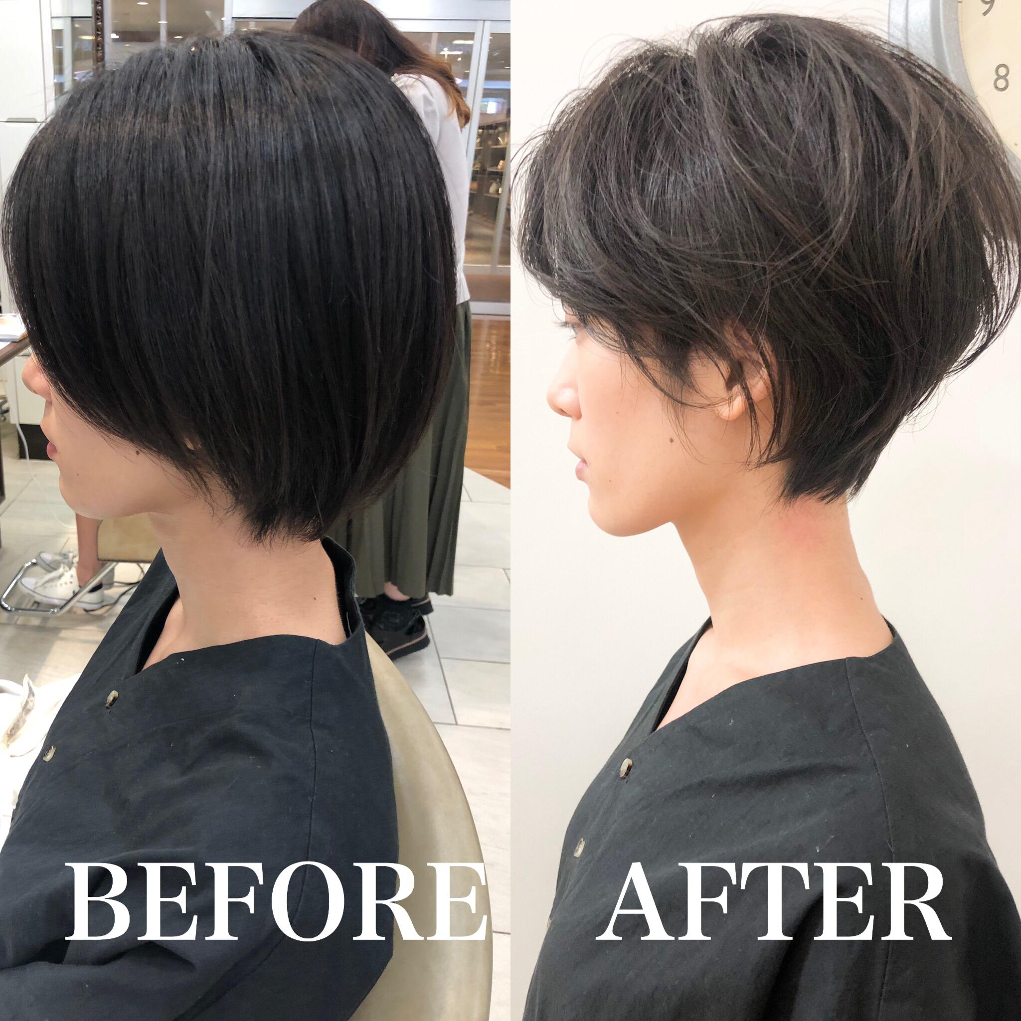 黒髪+ショートボブ→前髪長めハンサムショート
