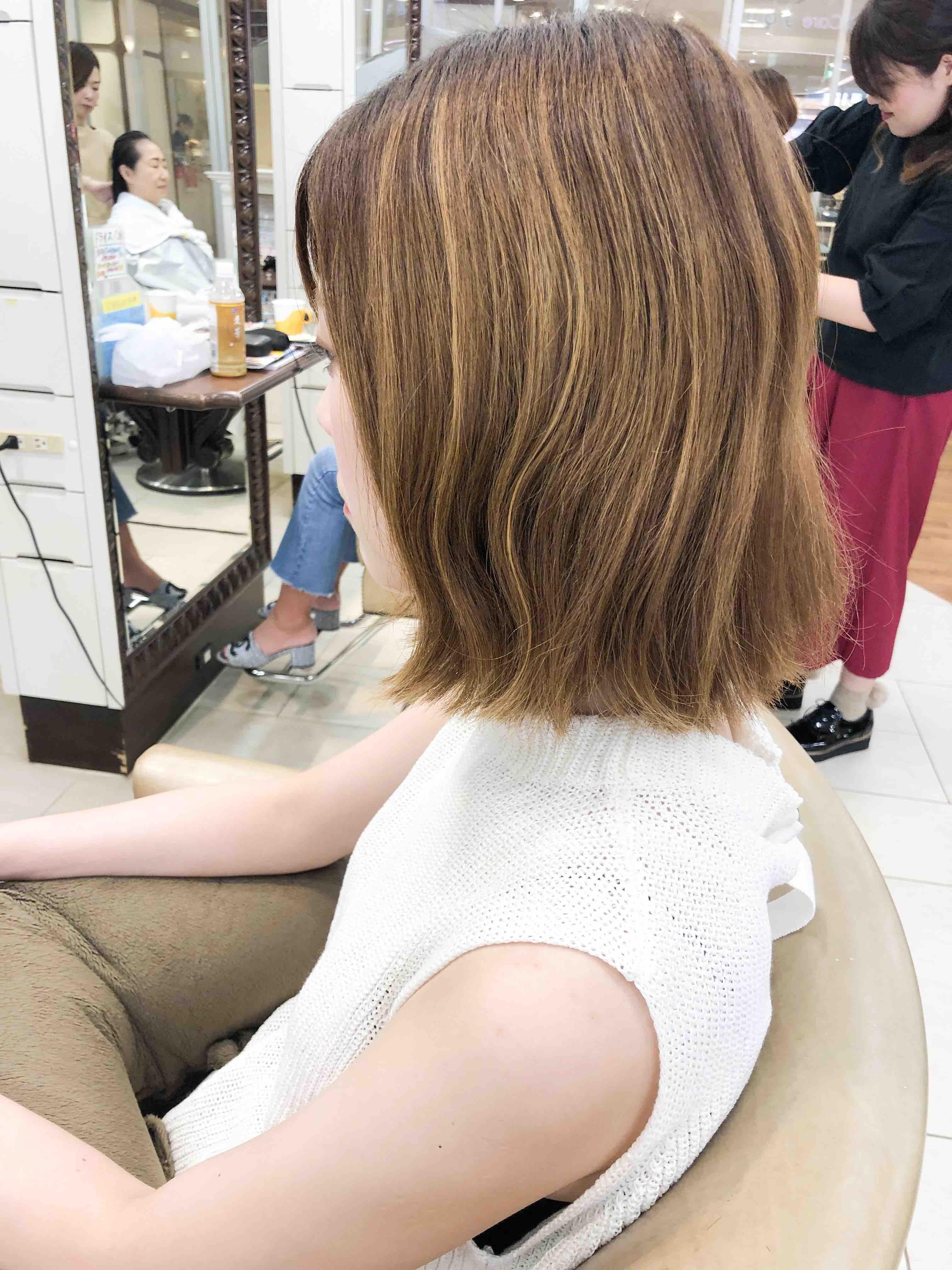 金髪ロブ→暖色系チェリーブラウン×外ハネボブ