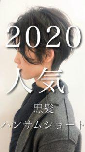 [2020人気黒髪+前髪長め色気のあるハンサムショート]解説